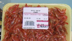 Package of dried shrimp.