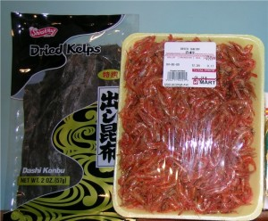 Packages of dried kelp and shrimp