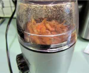 Dried shrimp in coffee grinder